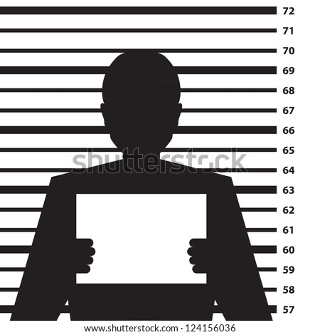 Police criminal record with man silhouette - illustration - stock vector