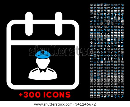 Police Date vector icon with additional 300 date and time management pictograms. Style is bicolor flat symbols, blue and white colors, rounded angles, black background. - stock vector