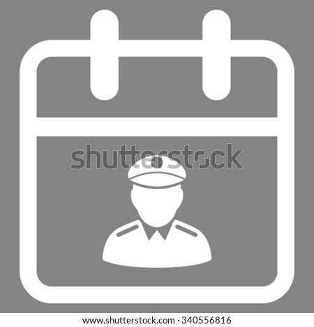 Police Day vector icon. Style is flat symbol, white color, rounded angles, gray background. - stock vector