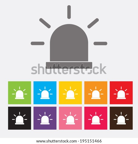 Police flat icons set - Vector - stock vector