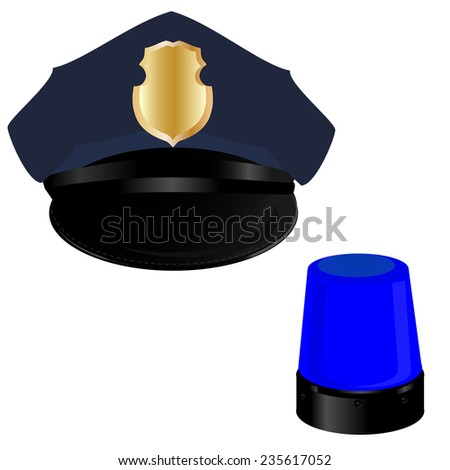 Police hat, police light, policeman, professional uniform - stock vector