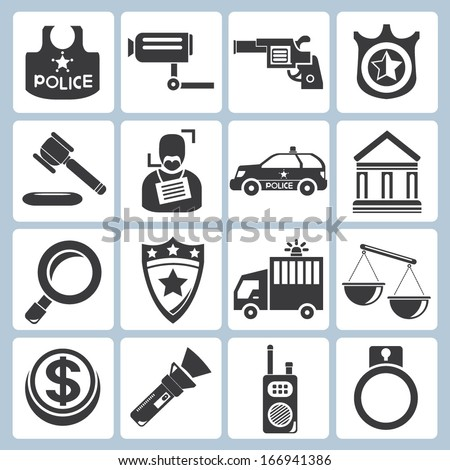police icons, law icons - stock vector