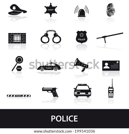 police icons set eps10 - stock vector