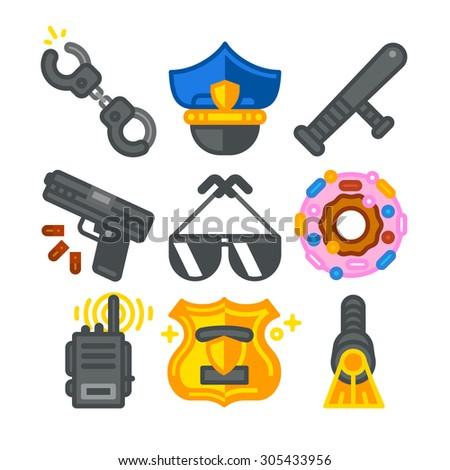 Police Icons. Vector flat illustration. - stock vector