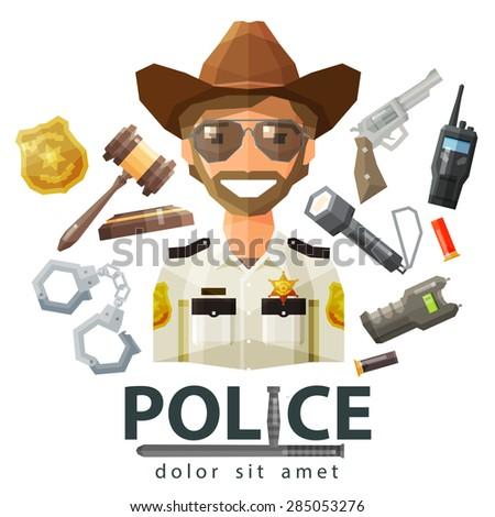 police, law icons. set of elements - gavel, flashlight, shocker, cartridge, portable radio, pistol, handcuffs, badge, policeman - stock vector