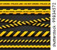 Police line and danger tapes on dark background. Vector illustration. - stock photo