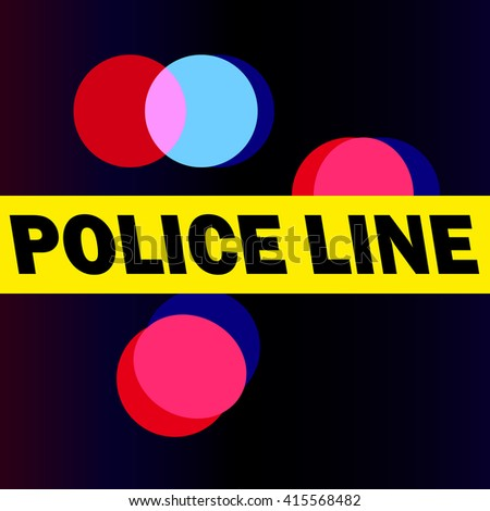 Police line do not cross. Vector illustration. News, reporting from the scene, crime, disaster, accident. Bokeh. - stock vector
