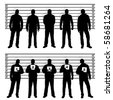 Police line up silhouettes - stock photo