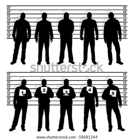 Police line up silhouettes - stock vector