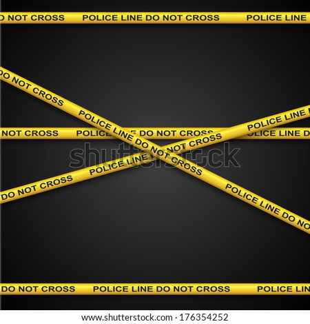 Police line yellow tape vector template with dark background. - stock vector