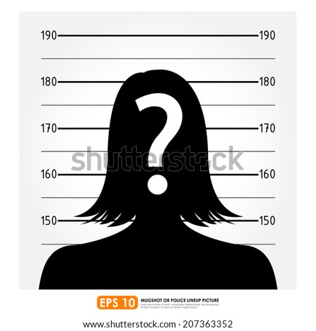 Police lineup or mugshot of anonymous female silhouette - stock vector