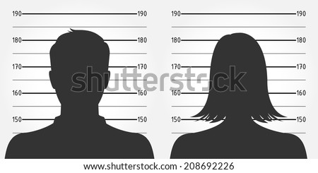 Police lineup or mugshot of anonymous male & female silhouettes - stock vector