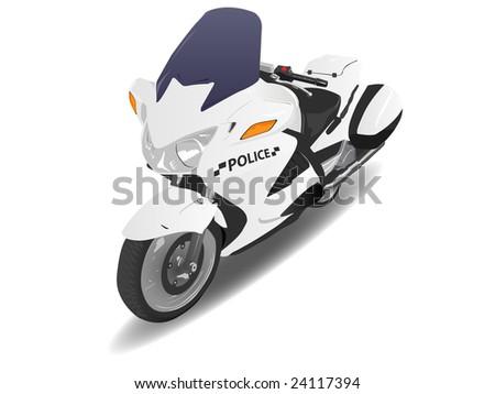 Police Motorcycle Motor Bike over White - stock vector
