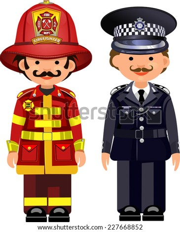 Police officer and firefighter - stock vector