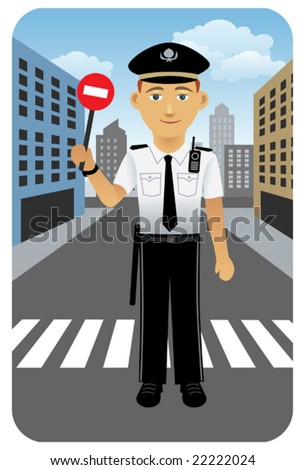 Police officer at crossroad.  Visit my portfolio for more professions and business people. - stock vector