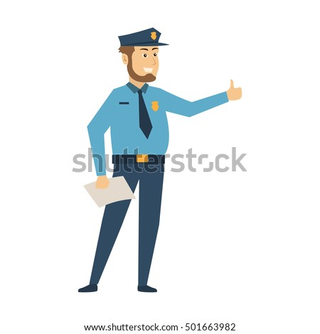 Police officer cartoon set, Police character set