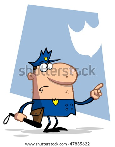 Police Officer Pointing And Holding A Club - stock vector