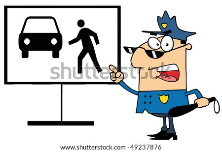Police Officer Shouting And Pointing To A Pedestrian Sign - stock vector
