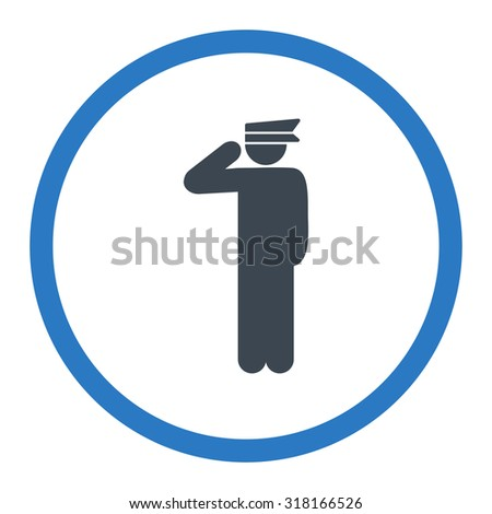 Police officer vector icon. This rounded flat symbol is drawn with smooth blue colors on a white background.