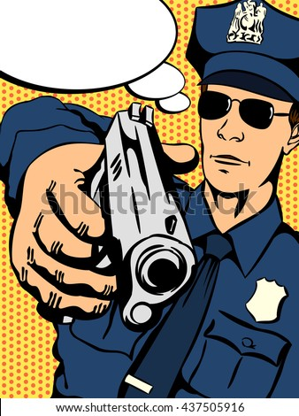 Police officer with a gun in his hand trying to stop crime. Retro comics - stock vector