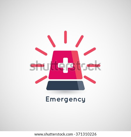Police or ambulance red flasher siren logo - stock vector