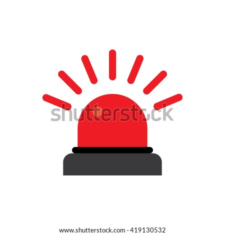 Police or ambulance red flasher siren logo. Flat style with line scatter rays. - stock vector
