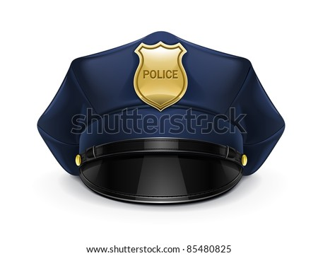 police peaked cap with cockade vector illustration isolated on white background - stock vector