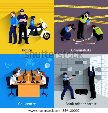 Police square concept set of policeman people bank robber arrest working criminalists and call center flat shadow vector illustration  - stock vector