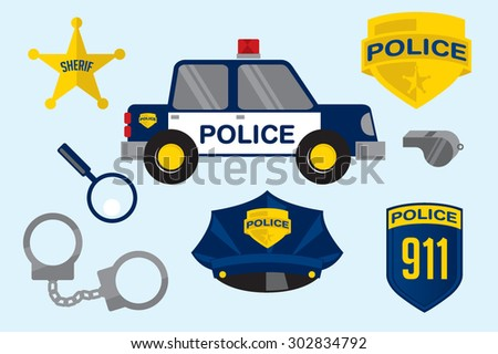 Police Station elements - stock vector