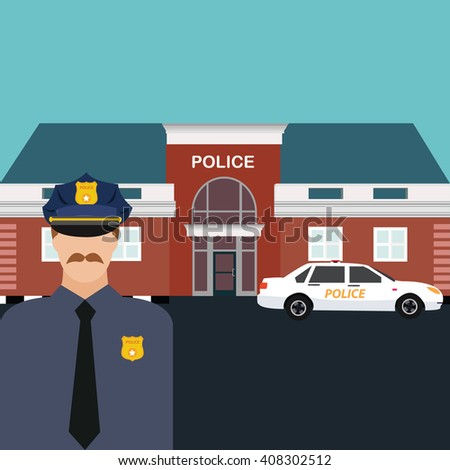 police station officer standing in front of office with car vector cops
