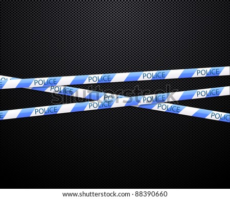 police tape on black background - stock vector