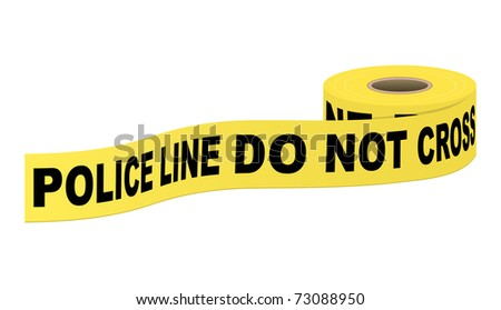 Police tape with text. Vector illustration. - stock vector