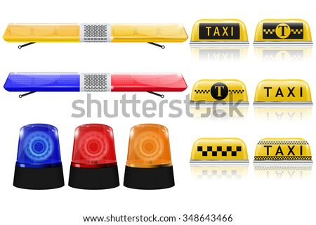 Police, Taxi, emergency light sign. Blue, red, yellow siren. Vector isolated on white background. - stock vector