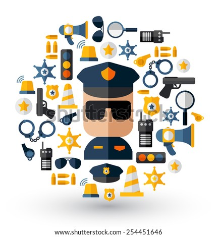 Policeman and equipment icons : Flat Illustration - stock vector