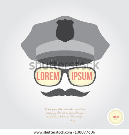 Policeman face in retro style - stock vector