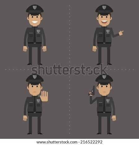 Policeman fat shows in different poses - stock vector