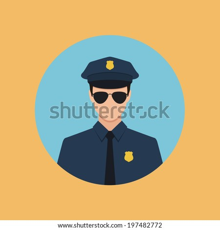 policeman flat style icon - stock vector