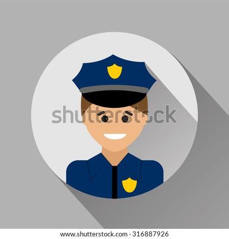 Policeman flat style icon - stock vector