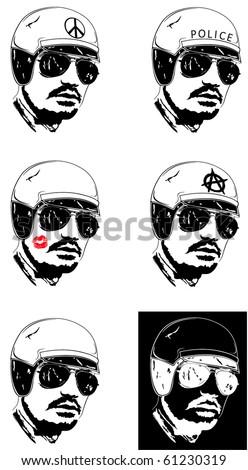 Policeman. Man with helmet. - stock vector