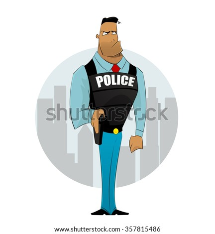 Policeman officer on city background. Security, law, justice, order, security, fighting crime and violence, protection concept.  Vector cartoon illustration Vector illustration - stock vector