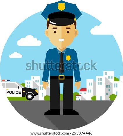 Policeman officer on city background with police car in flat style - stock vector