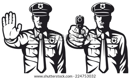 policeman pointing a gun and policeman gesturing stop sign (policeman shoots, police officer is making stop sign with hand,  police officer pointing his gun, stop sign by a police man) - stock vector