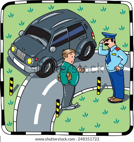 Policeman stopped the car, salutes and talking with the driver on the road. Children vector illustration - stock vector