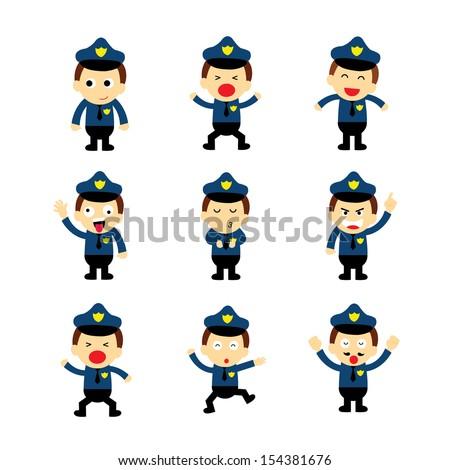policeman vector cartoon on white background - stock vector