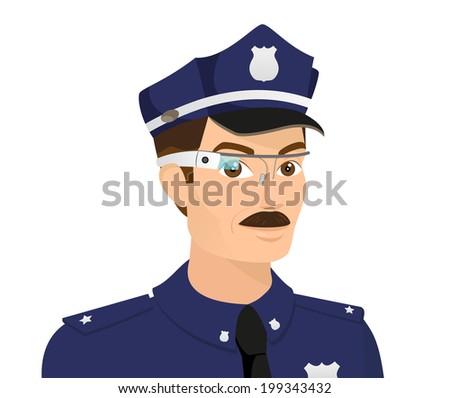 Policeman wearing smart glasses. Close-up illustration.  - stock vector