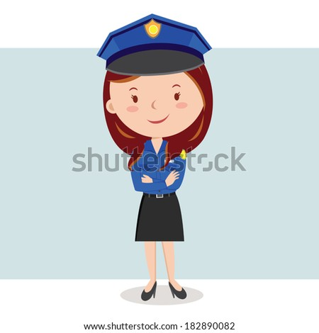 Policewoman. Friendly policewoman with arms crossed. - stock vector