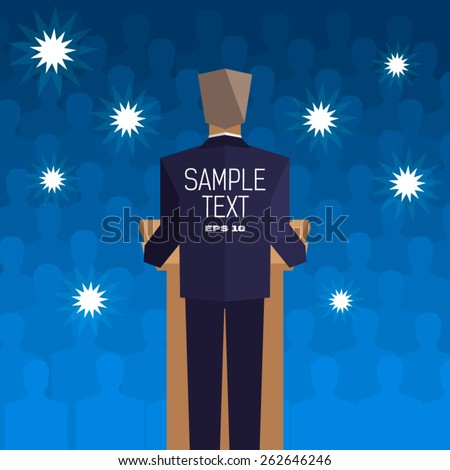 policies behind the podium back to the people - stock vector