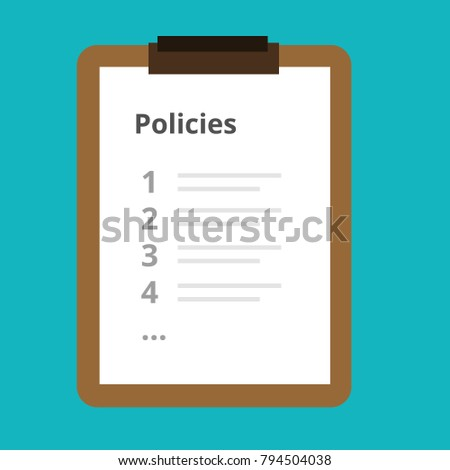 Policies List Board Company Policy Check Stock Vector