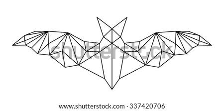 poligonal abstract bat - stock vector