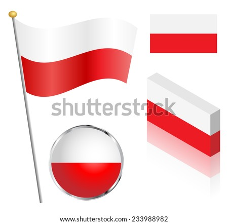 Polish flag on a pole, badge and isometric designs vector illustration.  - stock vector